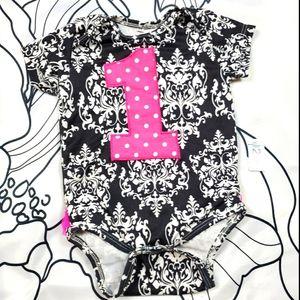 First Birthday Onesie Ruffle Butt Baby Girl pink